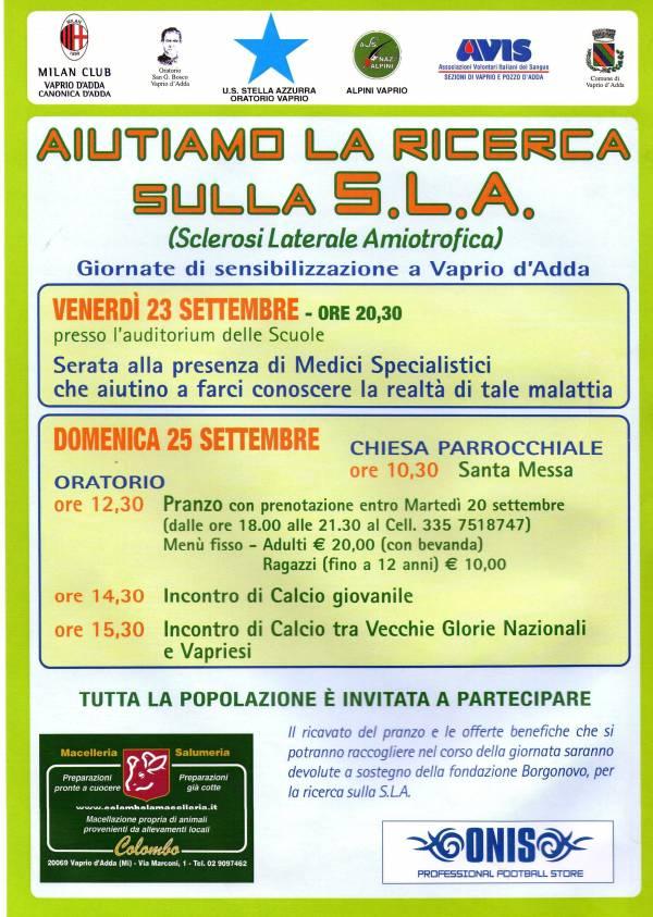 Programma Giornate si sensibilizzazione SLA (Sclerosi Laterale Amiotrofica)